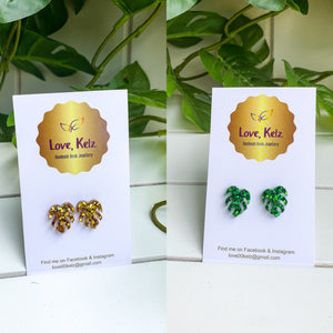 Hand-made Glitter Mini Monstera Stud Earrings by Love, Kelz