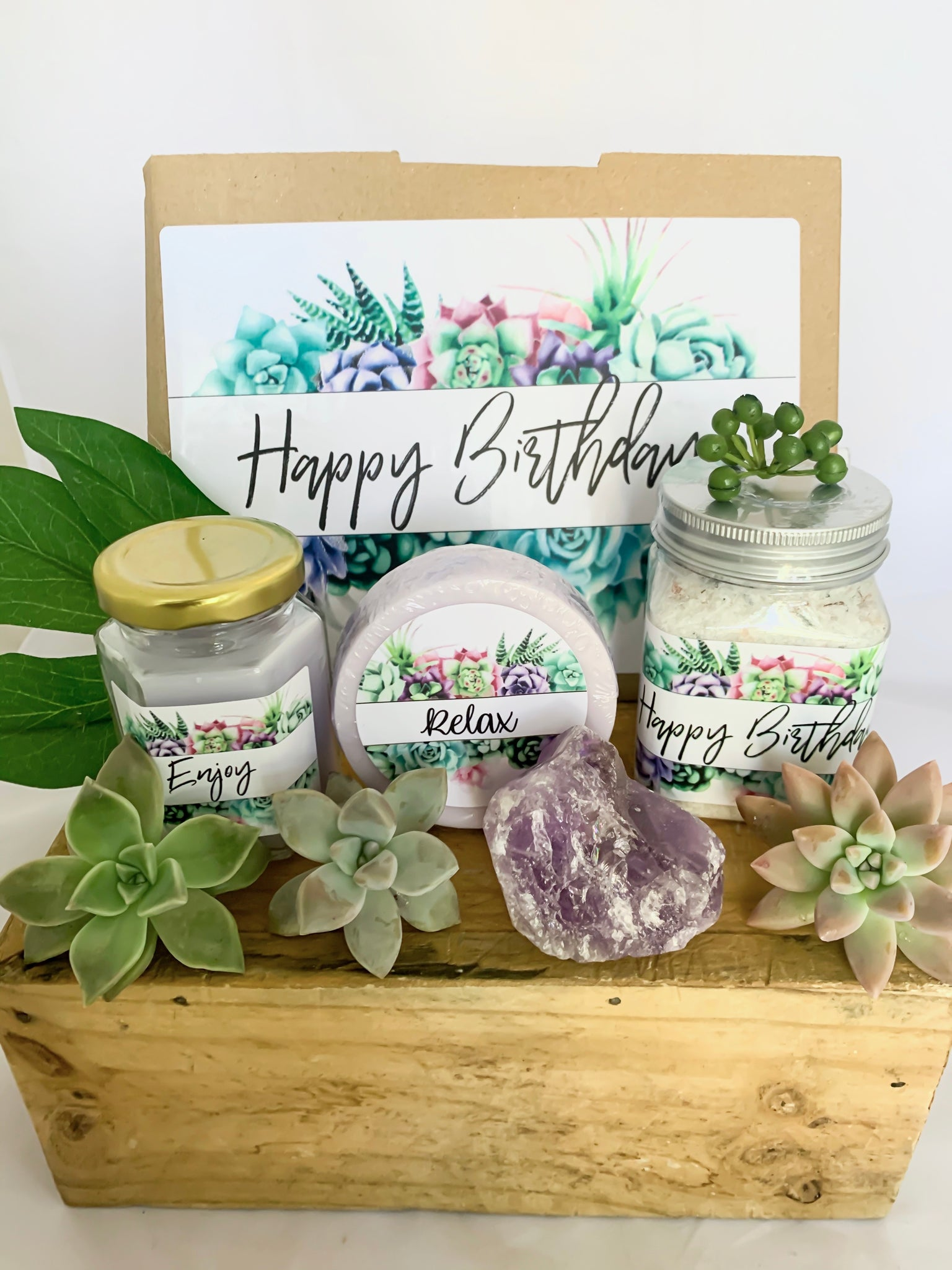 Happy Birthday Succulent Gift Box Care Package Happy Birthday Gift Mad Plant Ladies