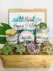 Happy Birthday Succulent gift box, Care Package, Happy Birthday Gift