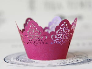 LASER CUT SCALLOPED SCROLL CUPCAKE CAGES  - {12 Pcs}