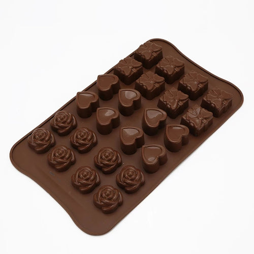 LOVE HEARTS, ROSES & GIFTS CHOCOLATE MOULD 24PCs