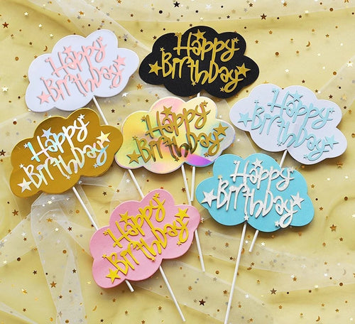 CLOUD HAPPY BIRTHDAY TOPPERS (PAPER)