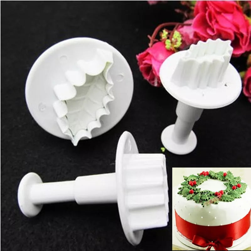 1 PIECE HOLY/ CHRISTMAS PLANT PLUNGER CUTTER SET 3PCS