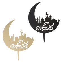 Load image into Gallery viewer, ACRYLIC CRESCENT MOON WITH EID MUBARAK MESSAGE AND MOSQUE CAKE TOPPER 1Pcs