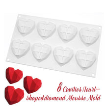 Load image into Gallery viewer, 3D MINI ORIGAMI LOVE HEARTS CHOCOLATE MOUSSE MOULD 8 PCS