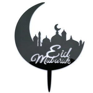 ACRYLIC CRESCENT MOON WITH EID MUBARAK MESSAGE AND MOSQUE CAKE TOPPER 1Pcs