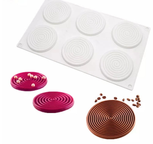 3D MINI RIPPLE CHOCOLATE MOUSSE MOULD 6 PCS