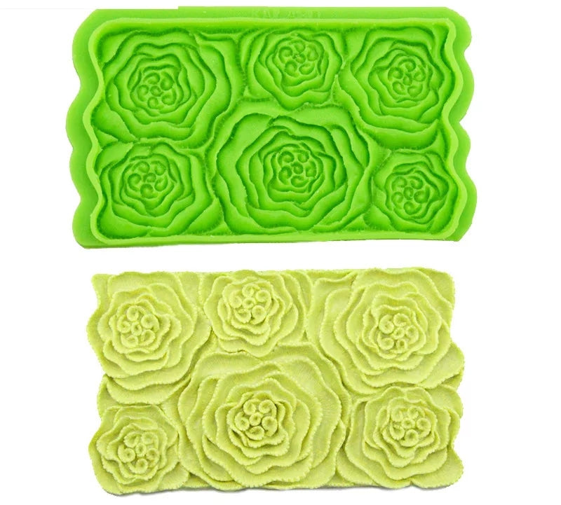 LARGE OPEN FLOWERS BAS RELIEF MOULD