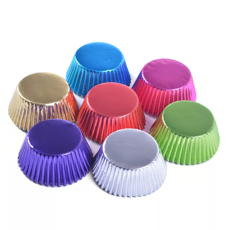 METALLIC CUPCAKE WRAPPERS/PAPERS/CASES 100 PCS (110MM)