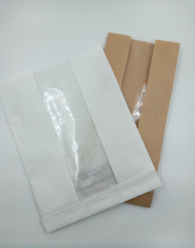 WHITE PLAIN POLY COATED BREAD/SCONES/BUNS/COOKIE BAGS WITH WINDOW