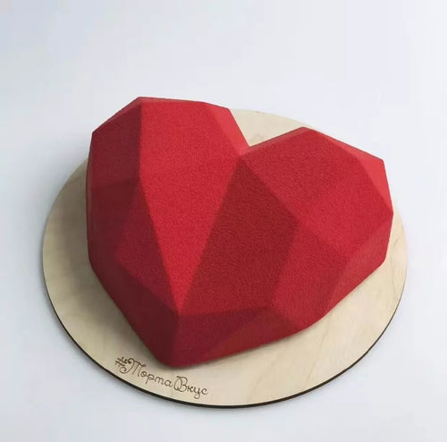 3D ORIGAMI/DIAMOND LOVE HEART CHOCOLATE MOUSSE MOULD 1PC