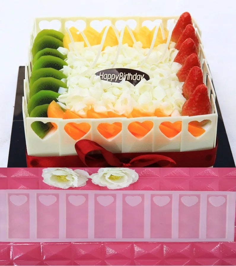 RECTANGLES WITH LOVE HEARTS CHOCOLATE CAGE/TOPPER MOULD (CLEAR)