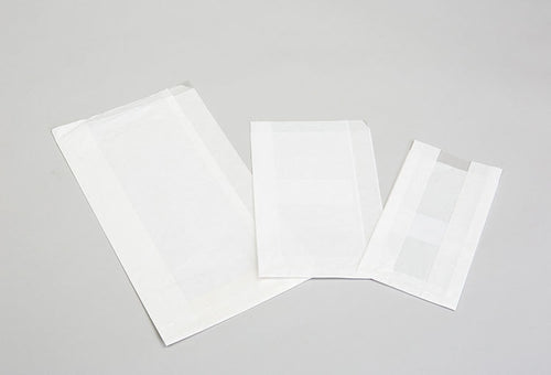 PLAIN WHITE POLY COATED, GUSETTED COOKIE BAGS WITH WINDOW