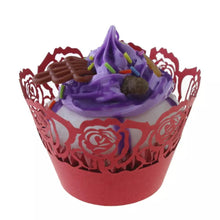 Load image into Gallery viewer, LASER CUT LARGE ROSES CUPCAKE CAGES  - {12 Pcs}