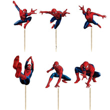 Load image into Gallery viewer, SPIDERMAN CUPCAKE TOPPERS 24 Pc
