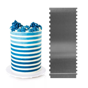 "TALL STAINLESS STEEL DOUBLE SIDED SMALL AND EXTRA SMALL STRIPES SCRAPER/ICING COMB (10*4"")"