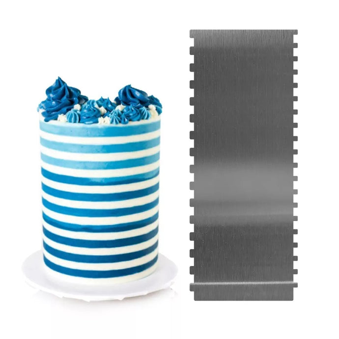 TALL STAINLESS STEEL DOUBLE SIDED SMALL AND EXTRA SMALL STRIPES SCRAPER/ICING COMB (10*4