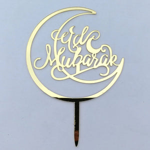ACRYLIC CRESENT MOON WITH EID MUBARAK MESSAGE TOPPER 1Pcs