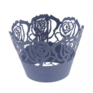 LASER CUT LARGE ROSES CUPCAKE CAGES  - {12 Pcs}