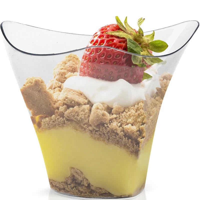 TWISTED CLEAR DESSERT/MOUSSE CUPS 100ML SET 25 PCS