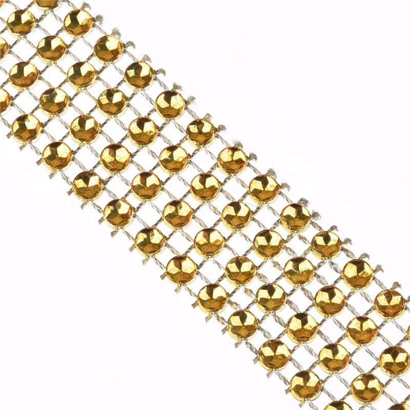 GOLD RHINESTONE CHAIN RIBBON