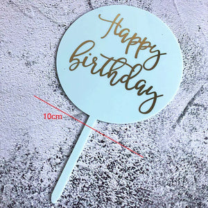 ROUND ACRYLIC HAPPY BIRTHDAY TOPPERS