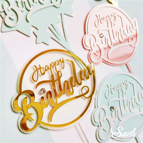 ROUND ACRYLIC HAPPY BIRTHDAY TOPPERS WITH GEM