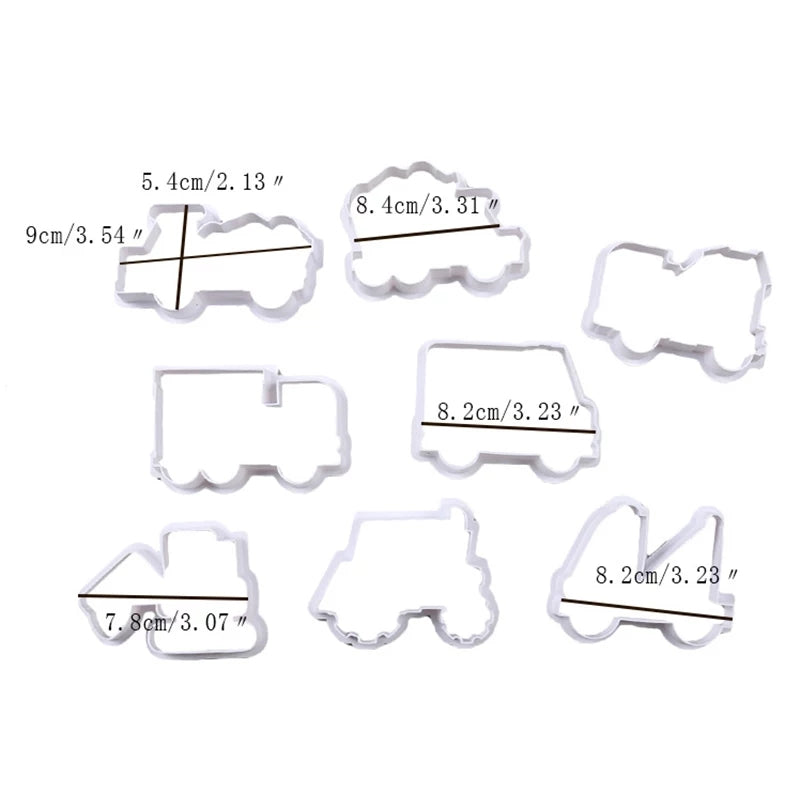 CARS COOKIE CUTTER PLASTIC CUTTER 8 PCS