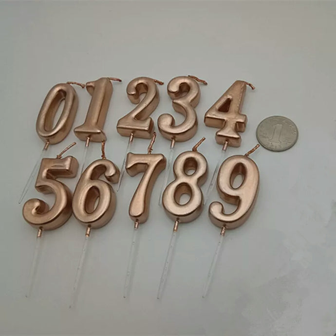 ROSE GOLD HAPPY BIRTHDAY NUMBER CANDLES