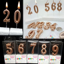 Load image into Gallery viewer, ROSE GOLD HAPPY BIRTHDAY NUMBER CANDLES