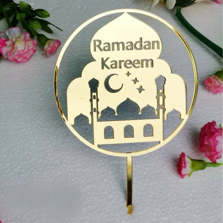 ACRYLIC MOSQUE WITH RAMADAN KAREEM MESSAGE CAKE TOPPER 1Pcs