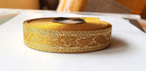 JACQUARD RIBBON (GOLD) 3/4 INCH