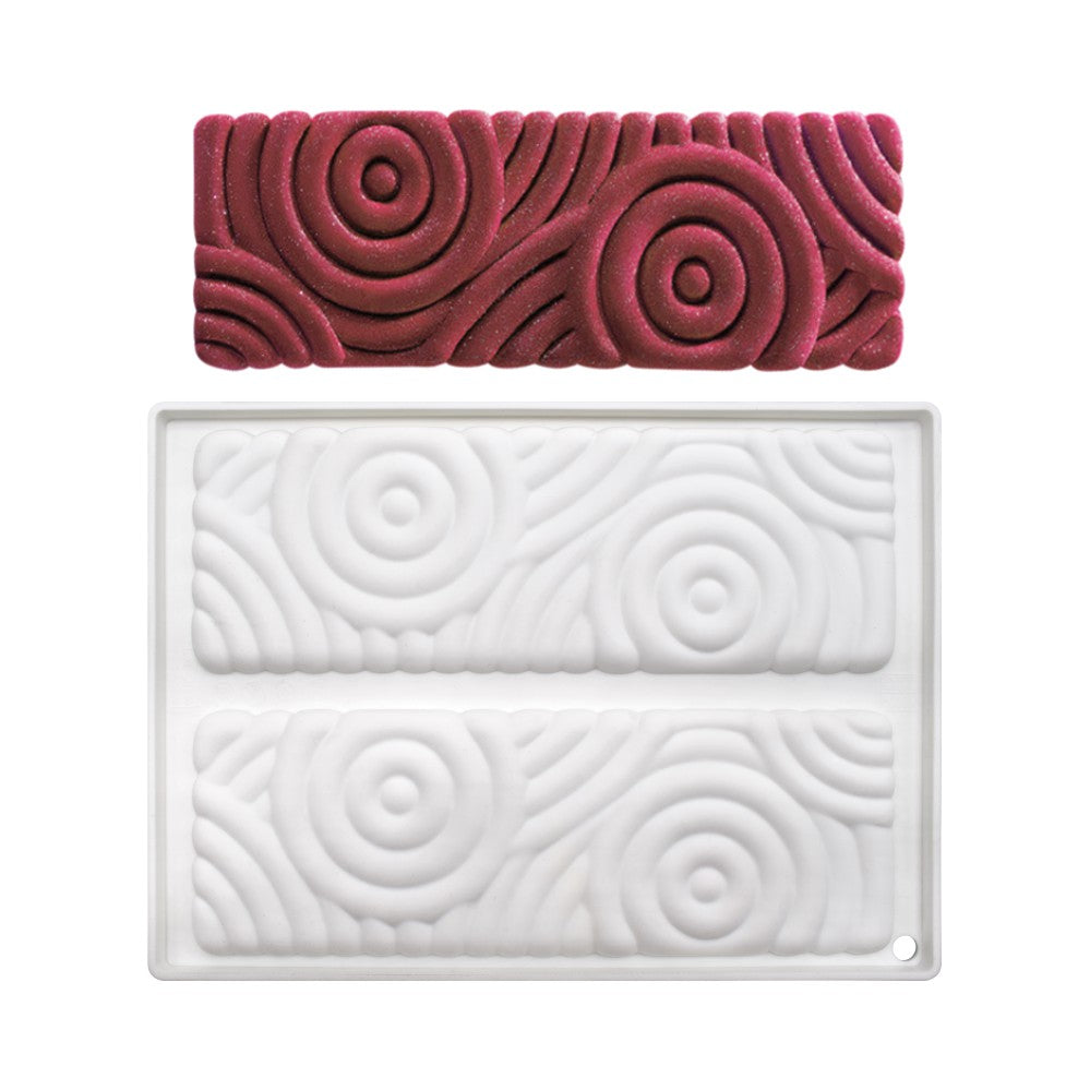 3D RECTANGULAR SPIRALS CHOCOLATE MOUSSE MAT
