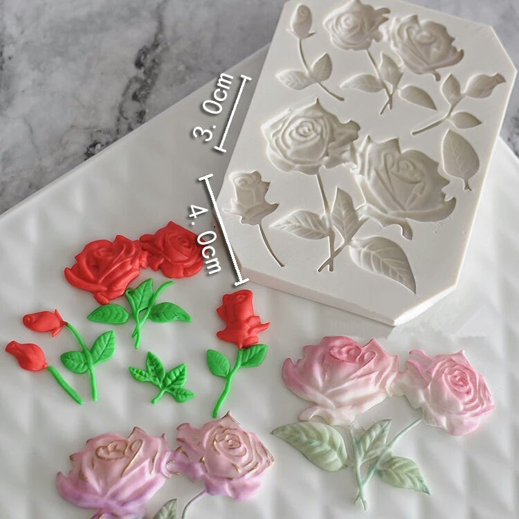 ROSE FLOWERS WITH STEMS & LEAVES MOULD