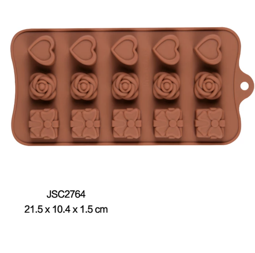 LOVE HEARTS, ROSES & GIFTS CHOCOLATE MOULD 15 PCs