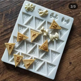 BUNTING SILICONE MOULD ALPHABETS WITH BOWS