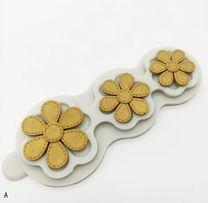 SMOOTH EDGES STITCHED PETALS FLOWER HEAD MOULD 3 SIZES