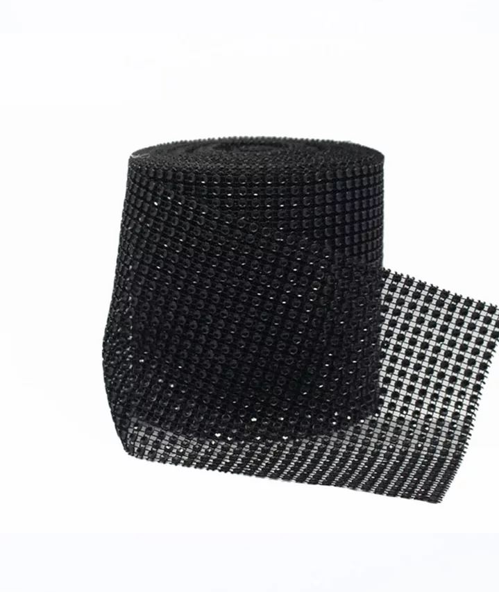 BLACK RHINESTONE CHAIN RIBBON