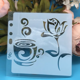 TEA CUP AND ROSE MINI STENCIL 14 BY 13 CM