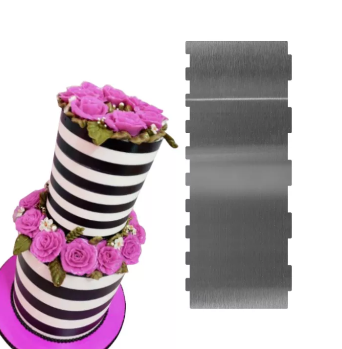 TALL STAINLESS STEEL DOUBLE SIDED LARGE AND MEDIUM STRIPES SCRAPER/ICING COMB (10*4