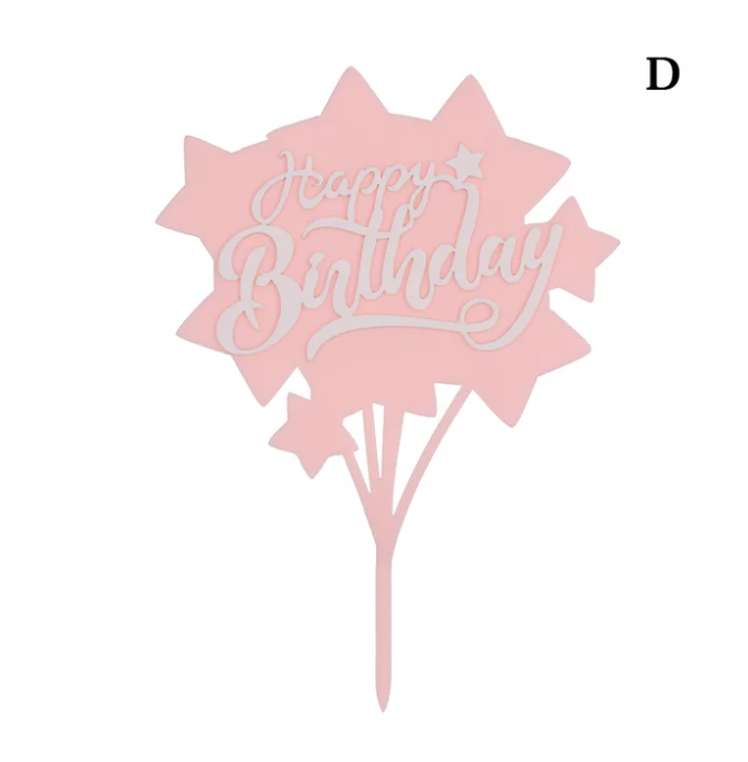 STARS ACRYLIC HAPPY BIRTHDAY TOPPERS