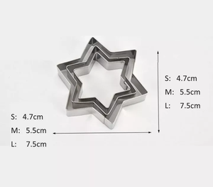FLOWER/LOVE HEART/CIRCLE/STAR STAINLESS STEEL CUTTER SET 3 PCS