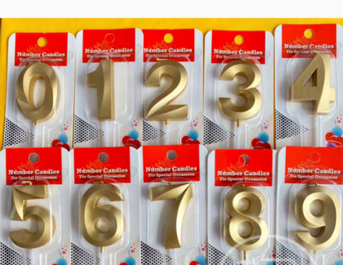 CLASSY GOLDEN HAPPY BIRTHDAY NUMBER CANDLES