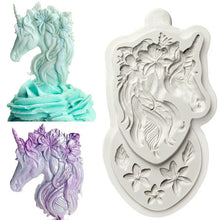 Load image into Gallery viewer, UNICORN SILICONE MOULD MINI WITH FLOWERS