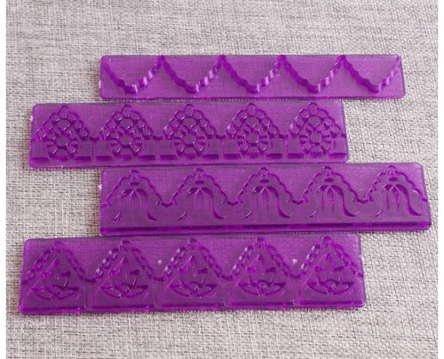 PATTERN FONDANT BORDER CUTTER / EMBOSSER 4PCS