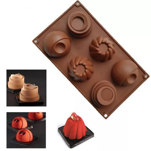 ASSORTED MINI CAKES CHOCOLATE MOUSSE MOULD 6 PCS