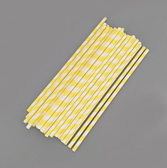 50 PCS YELLOW STRIPES LOLLIPOP/CAKE POP STICKS 15 CM BY 0.4 CM