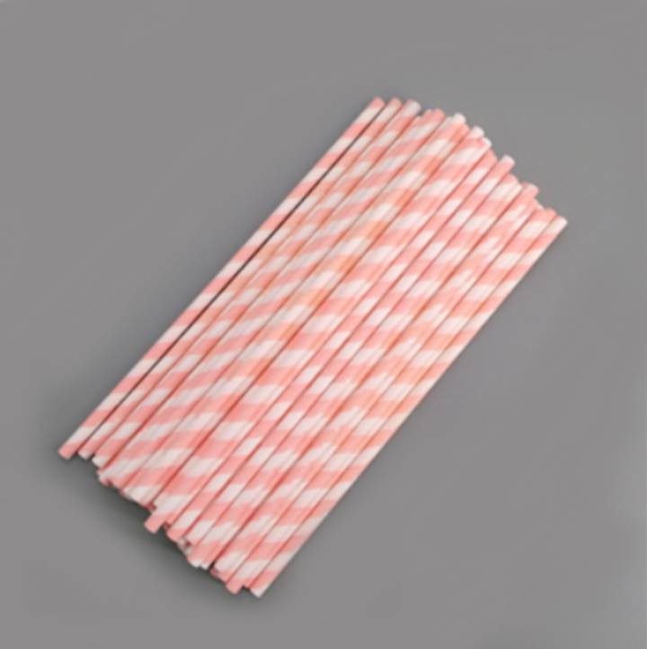 50 PCS ORANGE STRIPES LOLLIPOP/CAKE POPSTICKS 15 CM BY 0.4 CM