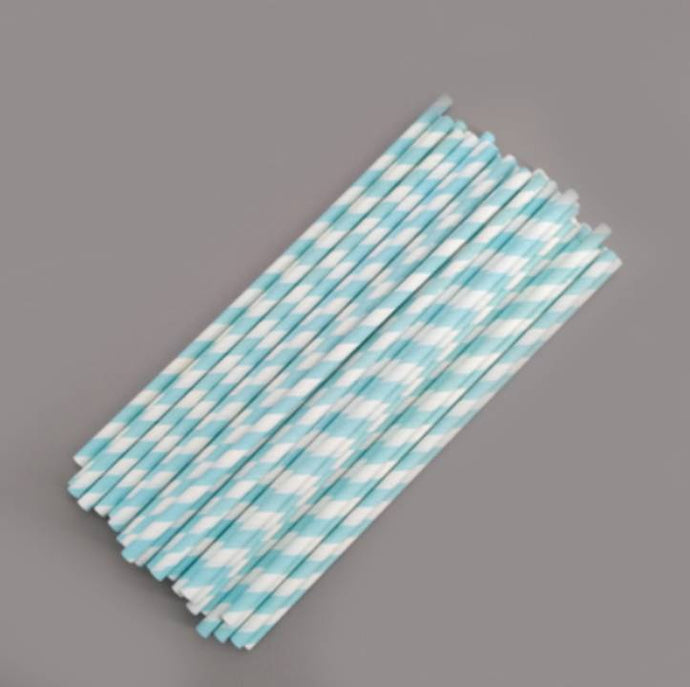50 PCS BLUE STRIPES LOLLIPOP/CAKE POP STICKS 15 CM BY 0.4 CM