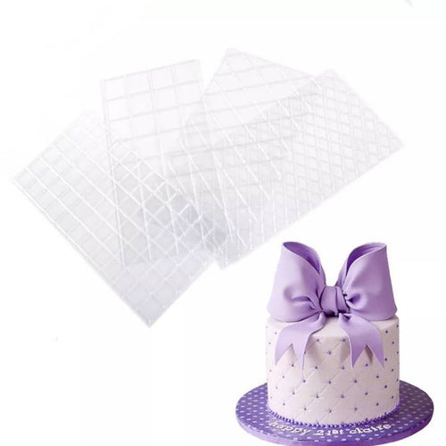 FONDANT EMBOSSER DIAMOND AND SQUARE QUILTING SET 4Pcs {CLEAR}